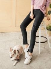 高腰排釦方形破損不收邊褲腳彈力窄管褲