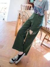 高含棉個性抓破裝飾壓線斜紋直筒長褲