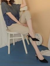 純色不易皺褲腳反褶俐落修身九分西裝長褲