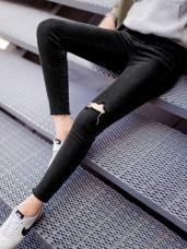 高彈竹節刷色腰鬆緊抓破鬚邊窄管褲