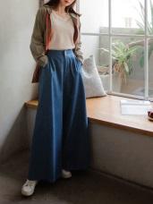 高含棉雙釦收腰設計後鬆緊牛仔寬褲