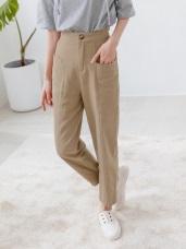高含棉後腰鬆緊兩側口袋剪接設計直筒長褲