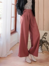 附腰帶垂墜感打褶設計純色直筒寬褲