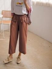 高含棉斜紋腰鬆緊口袋蓋點綴寬鬆休閒褲