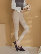 純色磨毛面料修身窄管長褲