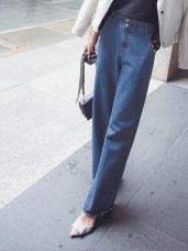 視覺纖長寬版高腰設計直筒牛仔寬褲