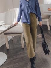 收腹寬版腰頭裝飾釦造型休閒直筒長褲