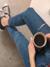 高腰鬆緊排釦割破鬚邊褲腳修身窄管褲