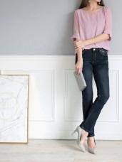 韓版藍黑仿舊小喇叭牛仔褲