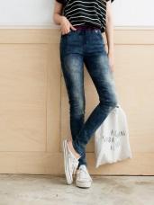 嚴選韓版愛心拼布彈性腰圍刷色牛仔褲