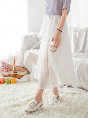 素色蝴蝶結綁帶後腰鬆緊設計雪紡長裙.3色