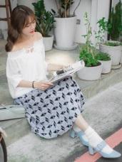 氣質撞色菱格後腰圍鬆緊雙口袋長裙.2色