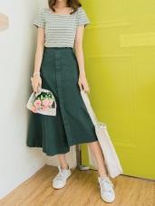 高含棉後腰鬆緊不規則裙襬造型長裙