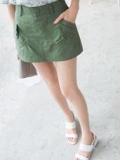 多色後腰鬆緊抓皺口袋造型褲裙.5色