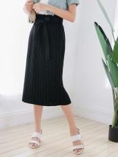 素色綁帶腰圍鬆緊百褶中長裙.2色
