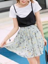浪漫花朵圖案後腰鬆緊雪紡百褶短裙.2色