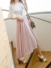 質感純色後腰鬆緊綴線條造型百褶雪紡長裙.2色