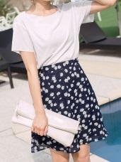 滿版花朵圖案後腰鬆緊設計雪紡中長裙.2色