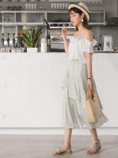 腰圍鬆緊滿版碎花滾邊設計層次荷葉裙襬雪紡長裙.2色