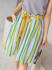 附綁帶配色直條紋後腰鬆緊中長裙.2色