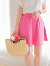 質感光澤後腰圍鬆緊打褶設計雙口袋休閒裙.3色
