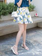 後腰鬆緊花朵印花緹花面料A字傘襬短裙