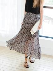滿版圖騰印花後腰鬆緊不規則層次裙襬造型雪紡長裙