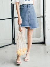 質感刷色不規則裙襬造型牛仔短裙