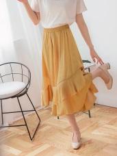 腰圍鬆緊飄逸荷葉層次素色光澤感緞面長裙.2色