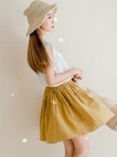 腰圍鬆緊拼接抓皺層次純色棉麻質感短裙.2色