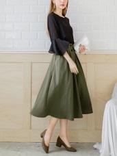 質感浪漫排釦造型A字長裙