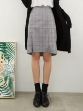 質感細格紋下襬打褶西裝中長裙.2色