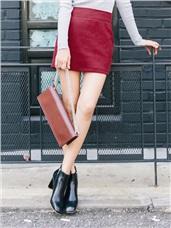 純色毛呢修身窄裙