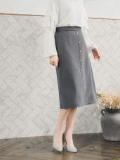 高含棉排釦設計A字長裙