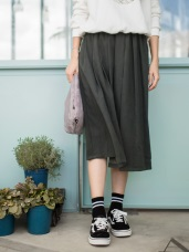 深色磨絨布寬版百褶裙