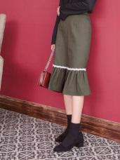 高含棉魚尾巴蕾絲藤編設計中長裙