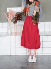 立體剪裁側襬鬆緊造型A字棉長裙