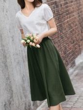 寬版羅紋鬆緊腰間設計垂墜感中長裙