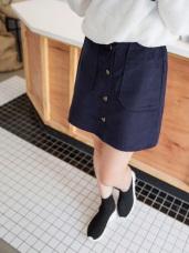 高含棉豎壓紋燈心絨A字短裙