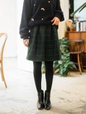 混紡羊毛細格紋打褶中裙