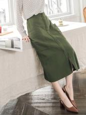 高含棉斜紋布前壓褶開衩A字長裙