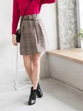 英倫拼色格紋附細皮帶磨毛面打褶短裙