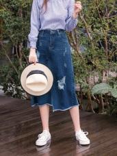 高含棉下襬不規則抽鬚刷破中長牛仔裙
