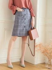 細格紋排釦中裙