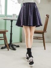 配色細格紋安全內裡褲毛呢打摺短裙
