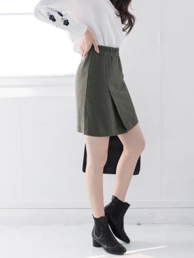 高含棉腰圍鬆緊前小開衩A字包裙