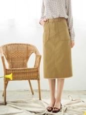 高含棉斜紋布下襬抽鬚中長裙