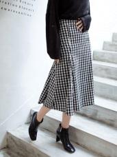 黑白格紋傘襬中長裙