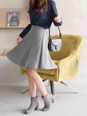 簡約格紋傘襬A字短裙