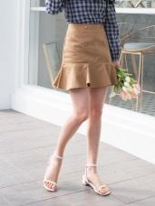 魚尾造型高含棉排釦短裙